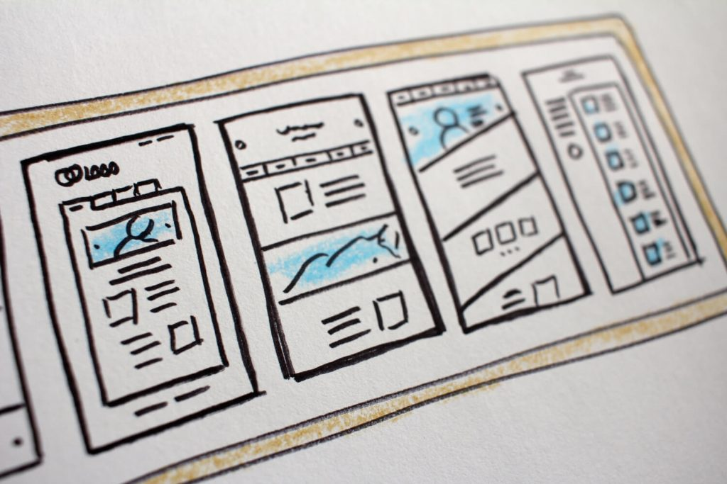 Excellent.org explains the principles for building a landing page and gives valuable tips, the picture shows sketches of page layouts